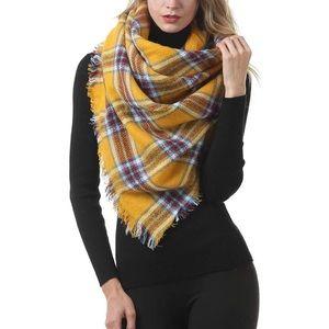 Large Tartan Plaid Blanket Scarf Yellow Brown